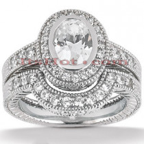 Diamond Platinum Engagement Ring Setting Set 0.64ct