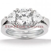 Diamond Platinum Engagement Ring Setting Set 0.70ct
