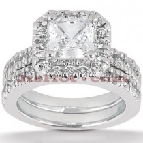 Diamond Platinum Engagement Ring Setting Set 0.82ct