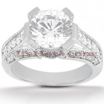 Diamond Platinum Engagement Ring Setting Set 0.91ct
