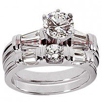 Diamond Platinum Engagement Ring Setting Set 1.05ct