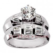 Diamond Platinum Engagement Ring Setting Set 1.06ct