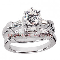 Diamond Platinum Engagement Ring Setting Set 1.14ct