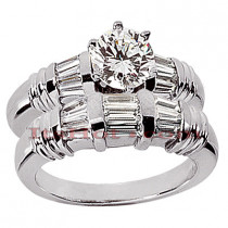 Diamond Platinum Engagement Ring Setting Set 1.17ct