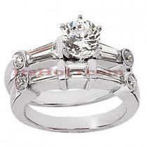 Diamond Platinum Engagement Ring Setting Set 1.33ct