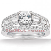 Diamond Platinum Engagement Ring Setting Set 1.34ct