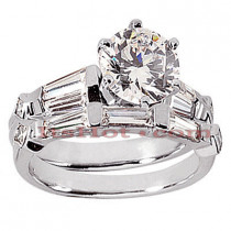 Diamond Platinum Engagement Ring Setting Set 1.62ct