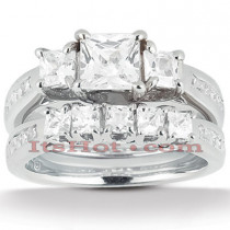 Diamond Platinum Engagement Ring Setting Set 1.74ct