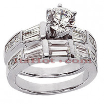 Diamond Platinum Engagement Ring Setting Set 1.80ct