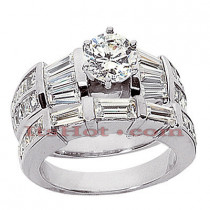 Diamond Platinum Engagement Ring Setting Set 2.79ct