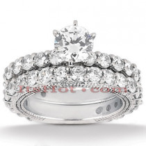Diamond Platinum Engagement Ring Setting Set 2.87ct