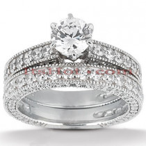 Diamond Platinum Engagement Ring Setting Set 2.92ct