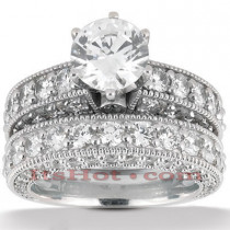 Diamond Platinum Engagement Ring Setting Set 3.91ct