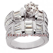 Diamond Platinum Engagement Ring Setting Set 4.34ct
