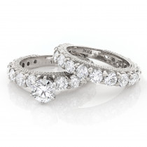 Diamond Platinum Engagement Ring Setting Set 5.24ct