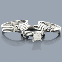 Diamond Ring Set Trio 14K 0.43ct