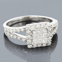 Diamond Rings 14K Round Princess Diamond Ring 1.92ct