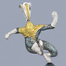 Real White Blue Yellow Diamond Spider-man Pendant in 10K Gold 3ct