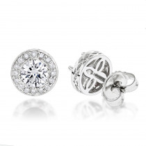 Diamond Studs 14K Cluster Diamond Stud Earrings .82ct