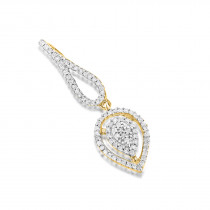 Ladies Diamond Teardrop Pendant 14K Gold 0.21ct
