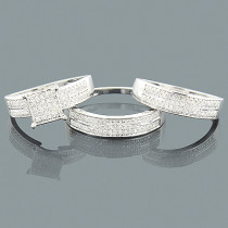 Diamond Trio Wedding Rings Set 0.57ct 10K