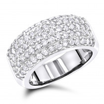 Diamond Wedding Bands 14K Pave Diamond Band 1.5ct