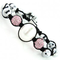 Disco Ball Bracelet with Pink Crystals