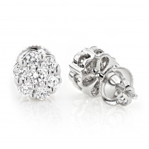 Discount Diamond Earrings in Sterling Silver 0.92ct Cluster Studs