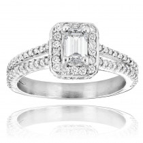 Emerald Cut Diamond Engagement Ring in Platinum 1.21ct Halo Design