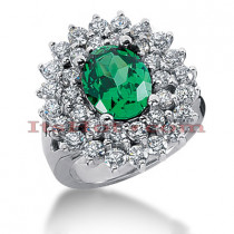Emerald Rings: Ladies Gemstone Diamond Ring 14K 1.96ctd 3cte