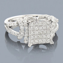 Engagement Rings: 14K Pave Diamond Ring 1.01ct