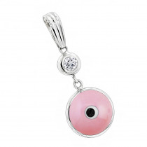 Evil Eye Jewelry 14K Diamond Evil Eye Pendant Pink 0.10