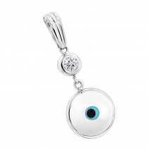 Evil Eye Jewelry 14K Diamond Evil Eye Pendant White .10