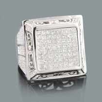 Mens Round & Invisible Set Princess Cut Diamond Ring 3.85ct 14K White Gold