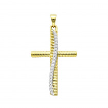 Fancy 14K Gold Diamond Cross Pendant for Women 0.15ct by Luxurman