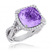 Fine Gemstone Jewelry: Purple Amethyst Diamond Cocktail Ring 11ct