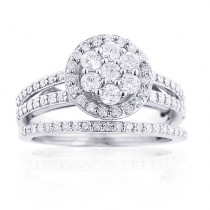 Flower Diamond Engagement Ring Set 14K Gold 1.29ct