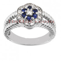 Flower Engagement Rings: Diamond and Blue Sapphire Ring 14K