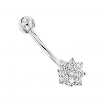 Flower Shaped 14K Gold Diamond Navel Ring 0.55ct