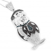 Fred Flinstones Diamond Pendant Sterling Silver Cartoon Character 2.25ct