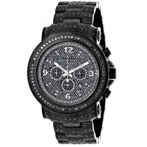Fully Iced Out Black Diamond Mens Watch by Luxurman 4.25ct Oversized