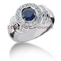 Gemstone Jewelry: Diamond and Sapphire Engagement Ring 14K 0.52ctd 1cts