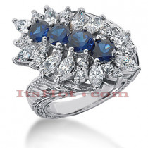 Gemstone Jewelry: Ladies Diamond and Sapphire Ring 14K 1.90ctd 1.60cts