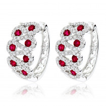 Gemstone Jewelry Luxurman Unique Ladies Diamond Red Ruby Earrings 14k Gold