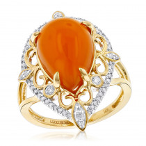 Gemstone Jewelry: Orange Aventurine Diamond Ring 5ct 14K