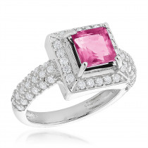 Gemstone Rings: Halo Topaz Diamond Engagement Ring 0.68ct 14K Gold