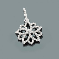 Gold Diamond Flower Pendant 0.34ct 14K Gold