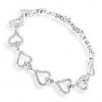 Gold Diamond Heart Bracelet 14K 3.26ct