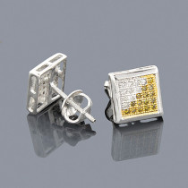 Gold Diamond Studs Clear Champagne Diamonds 0.20ct