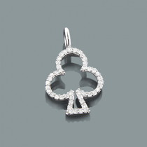 Gold Lucky Charm Pendant with Diamonds 0.17ct 10K Clubs